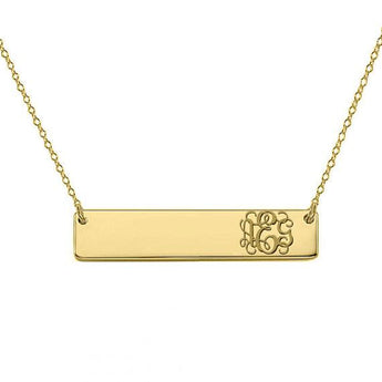 Monogram Necklace Bar 14k Solid Gold pendant side initials made with 14k Solid Gold 1.25 inch Bar - My Boho Jewelry
