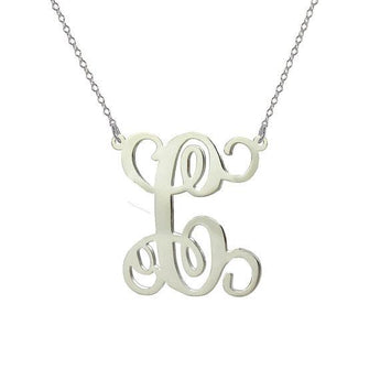 Monogram Necklace 2 inch pendant single initial made with 925 Sterling silver - My Boho Jewelry