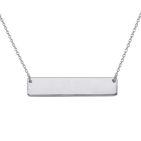 925 sterling silver  Engravable bar necklace - My Boho Jewelry
