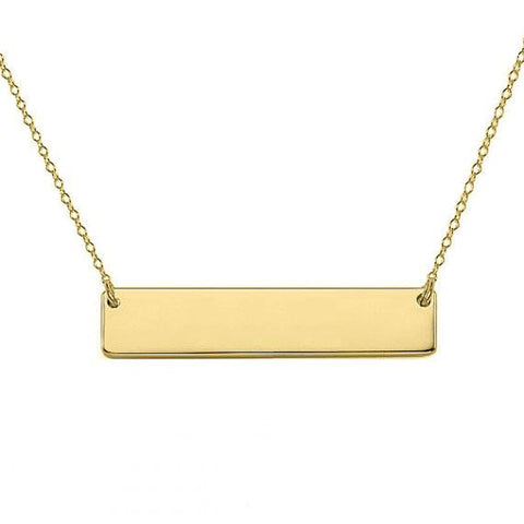 14k Solid Gold Bar Necklace 1 inch - My Boho Jewelry