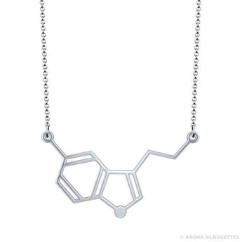 Horizontal Serotonin Molecule Necklace - 925 Sterling Silver - My Boho Jewelry