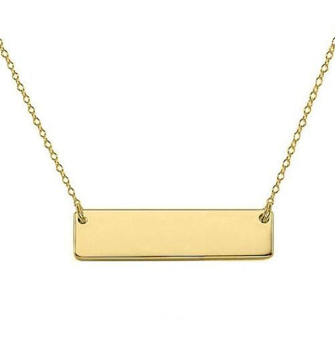 14k Solid Gold Bar Necklace 0.75 inch - My Boho Jewelry