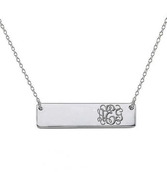 Monogram Necklace 0.75 inch 925 Sterling Silver Bar pendant with side initials - My Boho Jewelry