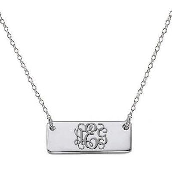 925 sterling silver monogram bar necklace tiny pendant select any initial - My Boho Jewelry