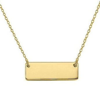 14k Solid Gold Bar Necklace Tiny - My Boho Jewelry
