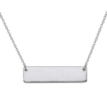 925 sterling silver  Engravable bar necklace 0.75 inch Pendant Choose any Font - My Boho Jewelry