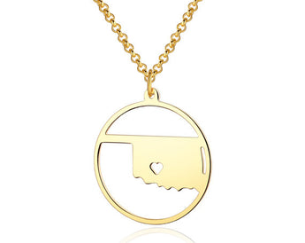 Oklahoma Necklace - 18K Gold Oklahoma Map Pendant - State Necklace - Map necklace with circle - Can be made at any State - My Boho Jewelry