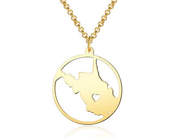 West Virginia Necklace - 18K Gold plated West Virginia Map Pendant - State Necklace - Map necklace with circle - Can be made at any State - My Boho Jewelry