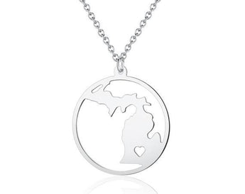 Michigan Necklace - 925 Sterling Silver Michigan Map Pendant - State Necklace -  Map necklace with circle - Can be made at any State - My Boho Jewelry