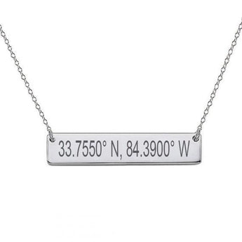 GPS Coordinates Sterling silver Bar Necklace 1 inch Silver Bar Necklace Latitude Longitude necklace Coordinates made with 925 silver - My Boho Jewelry