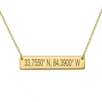 GPS Coordinates 18k Gold Plated Bar Necklace 1 inch Gold Bar Necklace Latitude Longitude necklace Coordinates made with 925 silver - My Boho Jewelry