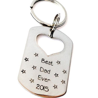 Best DAD Ever - Key chain - Tag Keychain - Hand stamped Heart Cutout tag - My Boho Jewelry