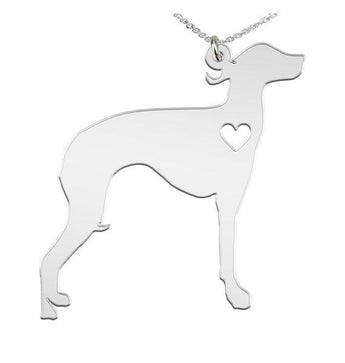 Italian Greyhound Custom Made 925 Sterling Silver iHeart Dog - Personalized Necklace - My Boho Jewelry