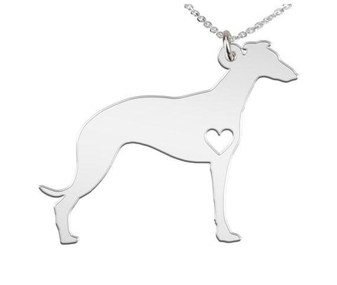 Whippet Personalized Necklace Custom Made 925 Sterling Silver iHeart Dog - Personalized Necklace - Engraving - My Boho Jewelry