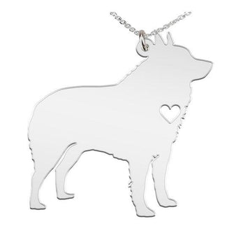 Schipperke Necklace Custom Made 925 Sterling Silver iHeart Dog - Personalized Necklace.Engraving - My Boho Jewelry