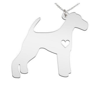 Airedale Necklace Custom Made 925 sterling silver  iHeart Dog - Personalized Necklace - My Boho Jewelry