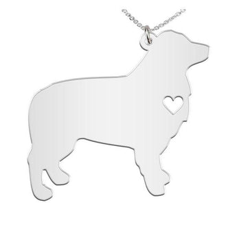 Aussie Necklace Custom Made 925 sterling silver  iHeart Dog - Personalized Necklace.Engraving