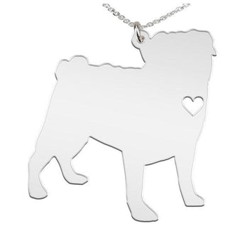 Pug Necklace Custom Made 925 Sterling Silver  iHeart Dog - Personalized Necklace.  Engraving. - My Boho Jewelry