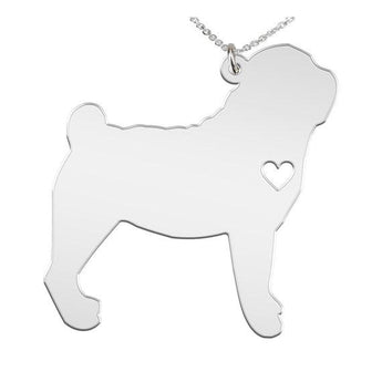 Shar Pei Necklace Custom Made 925 Sterling Silver iHeart Dog - Personalized Necklace.Engraving - My Boho Jewelry