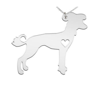 Chinese Crested Necklace Custom Made 925 sterling silver iHeart Dog - Personalized Necklace.Engraving - My Boho Jewelry