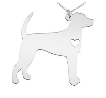 Foxhound Necklace Custom Made 925 Sterling Silver iHeart Dog - Personalized Necklace.Engraving - My Boho Jewelry