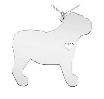 English Bulldog Necklace Custom Made 925 Sterling Silver iHeart Dog - Personalized Necklace.Engraving - My Boho Jewelry