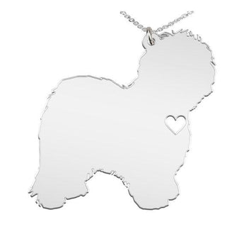 Old English Sheepdog Necklace Custom Made 925 Sterling Silver iHeart Dog - Personalized Necklace.Engraving - My Boho Jewelry
