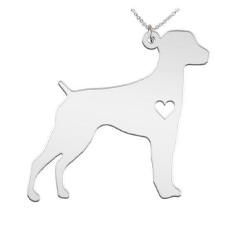 German Short Haired Pointer Necklace Custom Made 925 Sterling Silver iHeart Dog - Personalized Necklace.Engraving - My Boho Jewelry