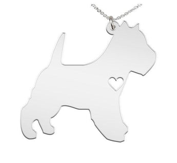 Westie Necklace Custom Made 925 Sterling Silver iHeart Dog - Personalized Necklace.Engraving - My Boho Jewelry