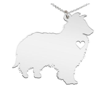 Shetland Sheepdog Necklace Custom Made 925 Sterling Silver iHeart Dog - Personalized Necklace.Engraving - My Boho Jewelry