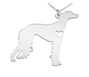 Saluki Necklace Custom Made 925 Sterling Silver  iHeart Dog - Personalized Necklace.Engraving - My Boho Jewelry