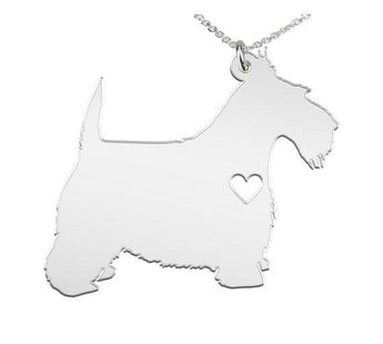 Scottish Terrier Necklace Custom Made 925 Sterling Silver  iHeart Dog - Personalized Necklace.Engraving - My Boho Jewelry
