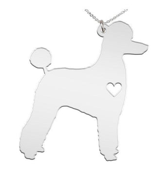Poodle Puppy Cut Necklace Custom Made 925 Sterling Silver  iHeart Dog - Personalized Necklace.Engraving - My Boho Jewelry