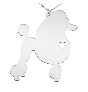 Poodle Necklace Custom Made 925 Sterling Silver  iHeart Dog - Personalized Necklace.Engraving - My Boho Jewelry