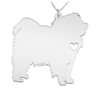 Chow Chow Necklace Custom Made 925 Sterling Silver iHeart Dog - Personalized Necklace.Engraving - My Boho Jewelry