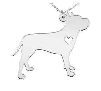 American Staffordshire Terrier Necklace Custom Made 925 sterling silver  iHeart Dog - Personalized Necklace - My Boho Jewelry