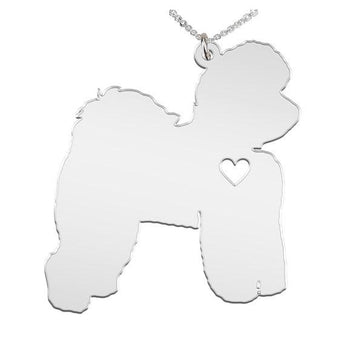 Bichon Frise Necklace Custom Made 925 sterling silver  iHeart Dog - Personalized Necklace.Engraving - My Boho Jewelry