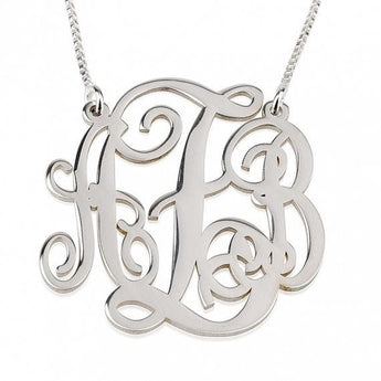 "Sterling Silver Split Chain Monogram Necklace 1.5"" - My Boho Jewelry"
