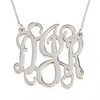 Sterling Silver Curly Split Chain Monogram Necklace 1 inch. - My Boho Jewelry