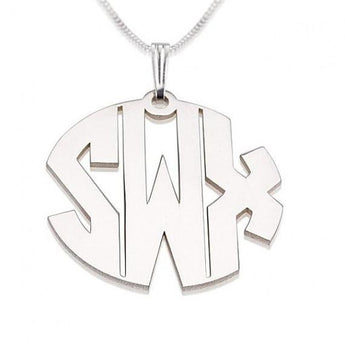 Sterling Silver Capital 3 Letters Monogram Necklace - My Boho Jewelry