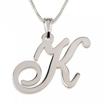 Sterling Silver Initial Necklace with chain - My Boho Jewelry