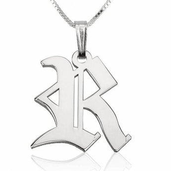 Sterling Silver Old English Initial Necklace with chain - My Boho Jewelry