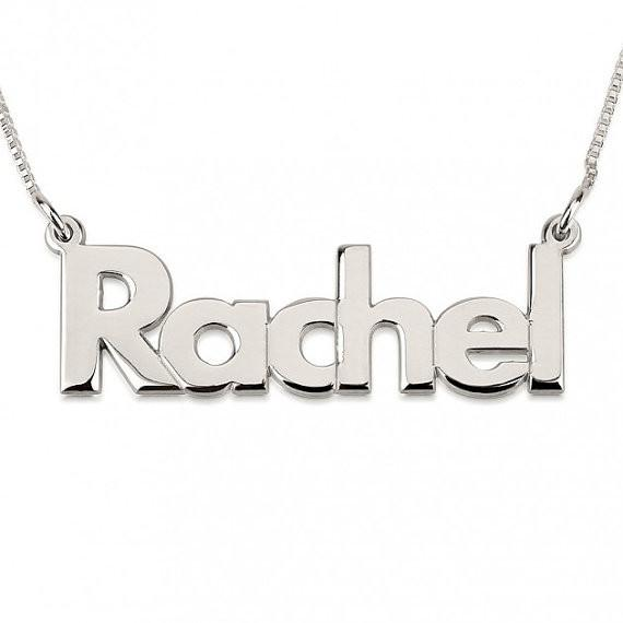 Bold Print Name Necklace with chain