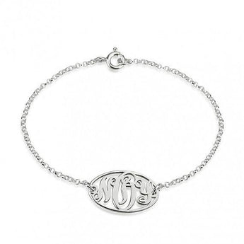 Sterling Silver Circle Monogram Bracelet - My Boho Jewelry