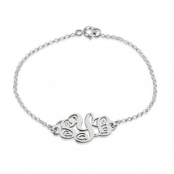 Sterling Silver Monogram Bracelet - My Boho Jewelry