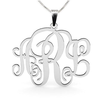 Sterling Silver Monogram Necklace 1inch with chain - My Boho Jewelry