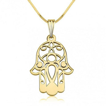 Hamsa Hand Necklace, Hand of Fatima Necklace, 18K Gold Plated Sterling Silver Hamsa Hand Necklace, - My Boho Jewelry