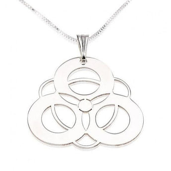 Sterling Silver  Crop Circle 4 Circles Necklace with chain - My Boho Jewelry