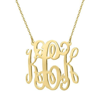 Gold monogram necklace - 1.25 inches 18k gold plated pendant select any initial made with 925 silver  plated - My Boho Jewelry