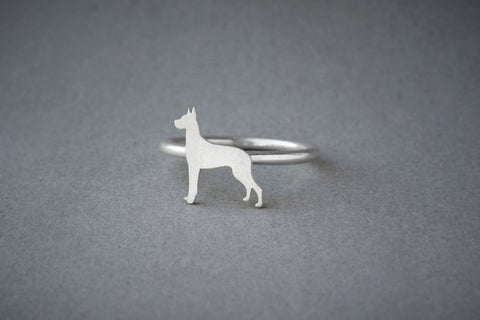 GREAT DANE RING / Great Dane Ring / Silver Dog Ring / Dog Breed Ring / Silver, Gold Plated or Rose Plated. - My Boho Jewelry